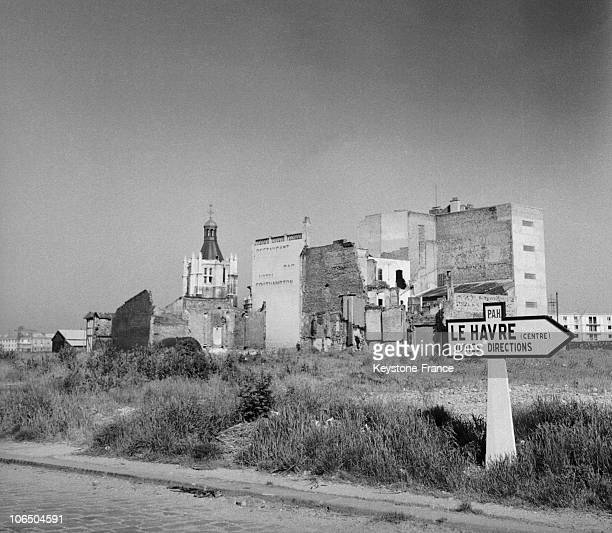 Buildings And NotreDame Cathedral On November 15Th 1953 At Le Havre Town Center That Was Ravaged By English Bombing In 1944 Leaving 80000 People...