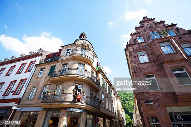 buildings and rowhouses in hauptstraße of heidelberg - hauptstraße stock pictures, royalty-free photos & images