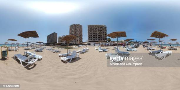Buildings and the beach of Varosha district In 360 Degree Panorama on July 12, 2017 in Famagusta, Cyprus. Abandoned and decaying Buildings of the...