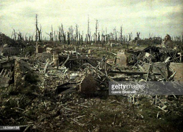 Buildings and trees destroyed by artillery fire World War I Western Front 1917 Color photo by Fernand Cuville Chaulnes Somme France