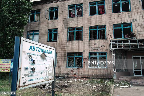Buildings are being demolished due to the clashes between the ProRussians separatists and Ukrainian Army in Lugansk Ukraine on June 17 2014 Four...