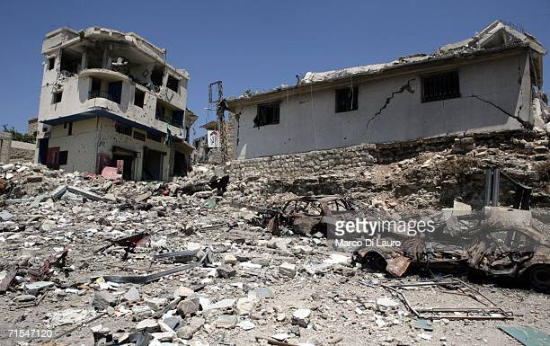 Buildings are damaged and destroyed after an Israeli bombing campaign July 31 2006 in Bint Jbail southern Lebanon The remaining civilian residents in...