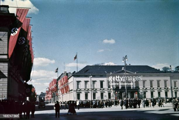 Buildings are decorated with swastika flags in the downtown area near the Lustgarten where Adolf Hitler chancellor of Germany delivered a speech in...