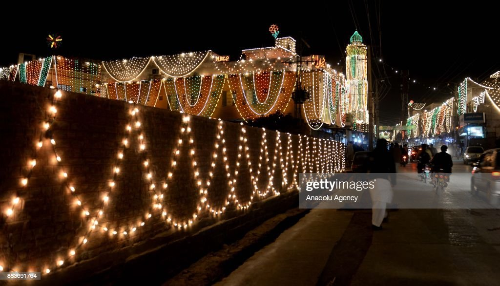 Buildings are illuminated during the celebrations for Mawlid alNabi the birth anniversary of Muslims` beloved Prophet Mohammad on a road in...