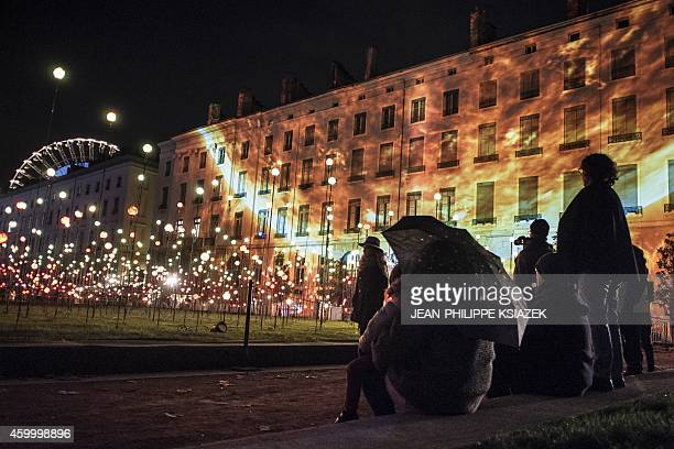 Buildings are illuminated on December 5 2014 in in the central French city of Lyon during the 16th edition of the Festival of Lights a secular...