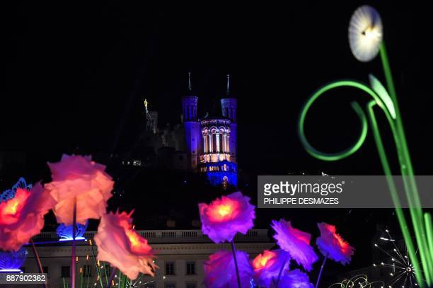 Buildings are illuminated on December 7 2017 in Lyon during the 19th edition of the Festival of Lights The Festival of Lights marks each year since...