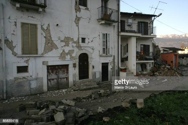 Buildings are left in ruins on April 7, 2009 in Onna a village near L'Aquila, Italy. On April 6, 2009 the 6.3 magnitude earthquake tore through...