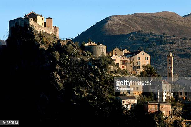 Buildings are nestled into the mountainside in the town of Corte northern Corsica France on Friday Oct 19 2007 President Nicolas Sarkozy met with...