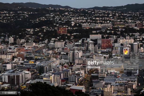 Buildings are seen from Mount Victoria Lookout at dawn in Wellington New Zealand on Saturday June 22 2019 The outoffavor kiwi dollar has tumbled...