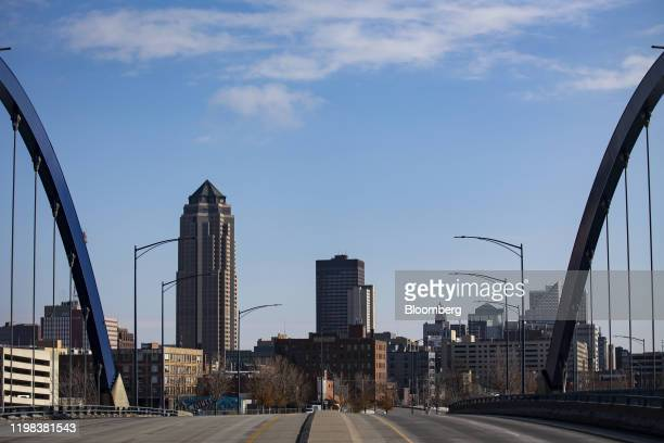 Buildings are seen in the skyline of downtown Des Moines, Iowa, U.S., on Monday, Feb. 3, 2020. Monday's caucuses will determine an official winner in...