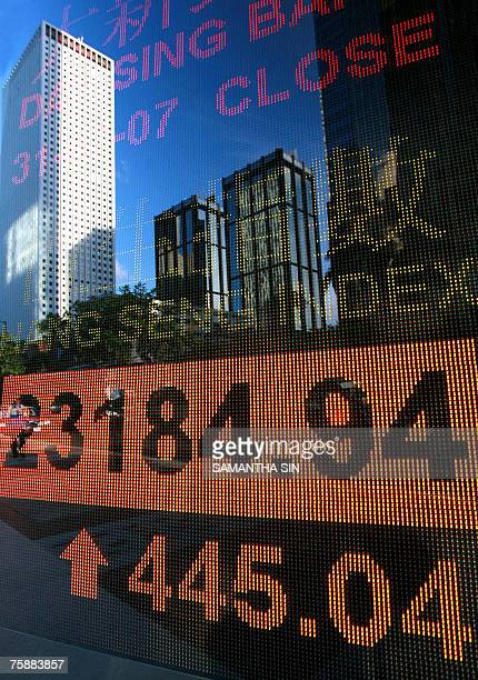 Buildings are seen reflected on a digital stock market index screen in Hong Kong 31 July 2007 Hong Kong share prices closed 196 percent higher...