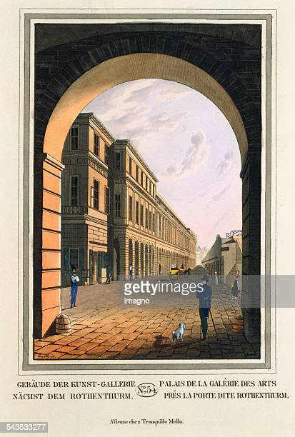Buildings Art Gallery next to the Rothenthurm 1825 Coloured etching Journal No 54 from >Wiens vorzüglichste Gebäude und Monumente Les principaux...