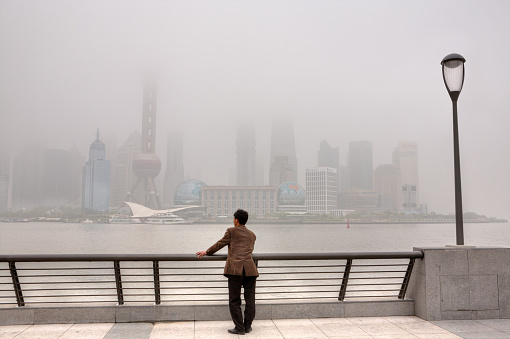 Buildings at Lujiazui are shrouded in heavy smog, Shanghai, China. - gettyimageskorea