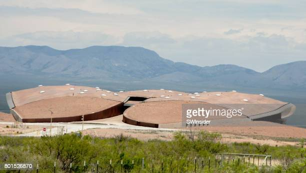 buildings at spaceport america in new mexico - spaceport america stock pictures, royalty-free photos & images