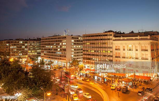 buildings at syntagma square at night, athens, greece - シンタグマ広場 ストックフォトと画像