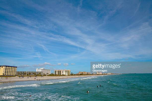 buildings at the waterfront, cocoa beach, florida, usa - cocoa beach stock pictures, royalty-free photos & images