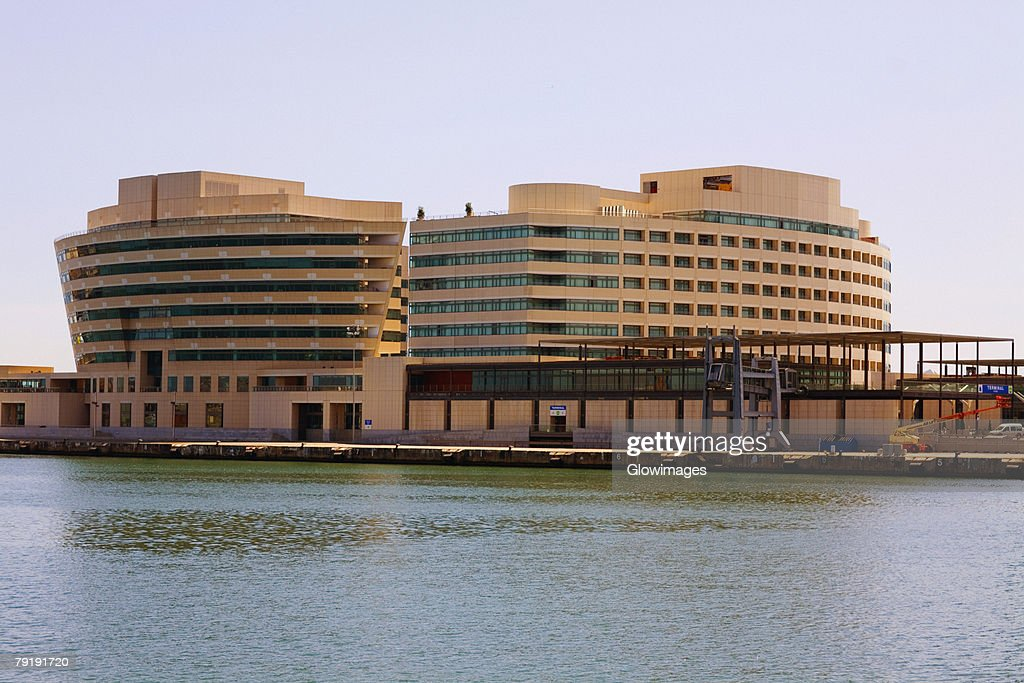 Buildings at the waterfront, World Trade Centre, Barcelona, Spain : Foto de stock