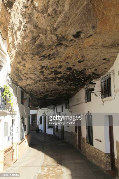 Buildings built with cave rock roof at Setenil de las Bodegas, Cadiz province, Spain.