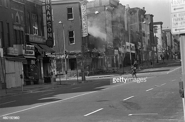 Buildings burn in 7th street in Washington DC on April 08 1968 during the riots that erupted in Washington and several american cities after the...