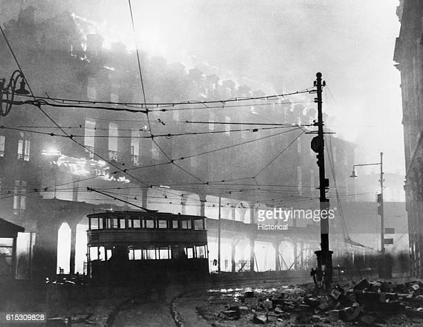 Buildings burning in the Sheffield raid of December 14 1941