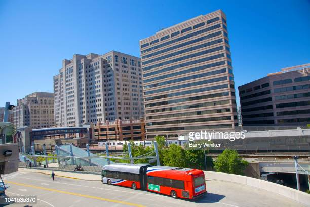 buildings, bus and train in silver spring, maryland - silver spring stock pictures, royalty-free photos & images