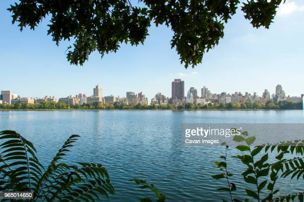 buildings by jacqueline kennedy onassis reservoir in new york city - central park reservoir stock pictures, royalty-free photos & images