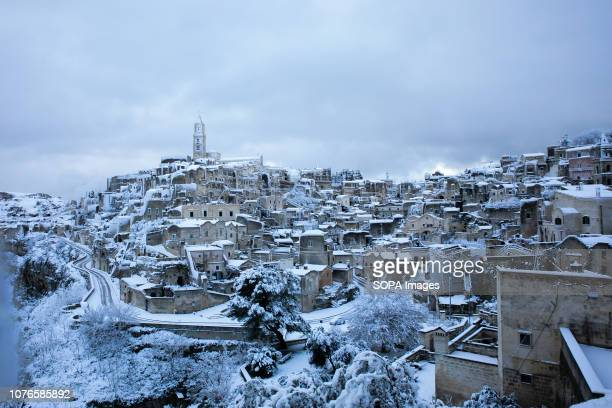 Buildings covered in snow in Matera European capital of culture 2019