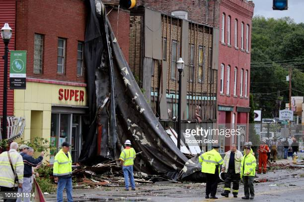Buildings damaged by a tornado on Main Street in Webster MA are pictured on Aug 4 2018 A tornado along with intense rain hit Central Massachusetts...