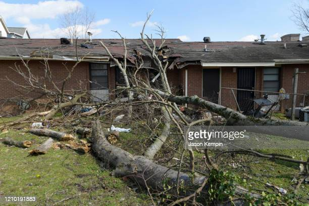 Buildings damaged by the storm are seen in the Germantown neighborhood following devastating tornadoes on March 03 2020 in Nashville Tennessee At...
