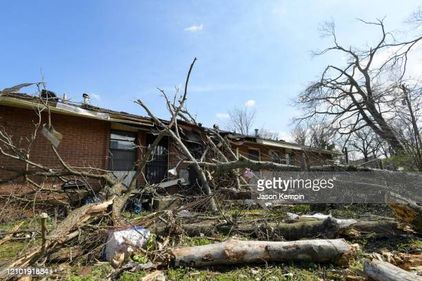 Buildings damaged by the storm are seen in the Germantown neighborhood following devastating tornadoes on March 03, 2020 in Nashville, Tennessee. At...