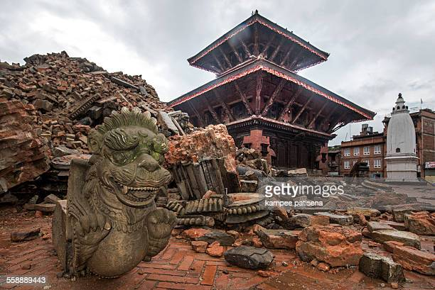 Buildings destroyed by an earthquake in Bhaktapur