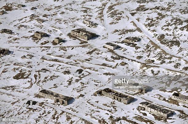 Buildings from a former Soviet gulag still stand in Pevek Russia The 19921993 Transsibering Expedition crossed Siberia from Nadym to the Bering...