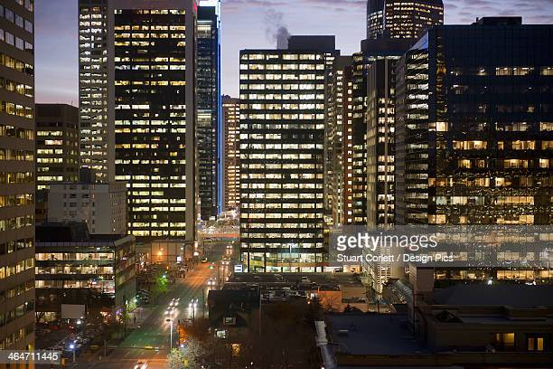 Buildings illuminated at night