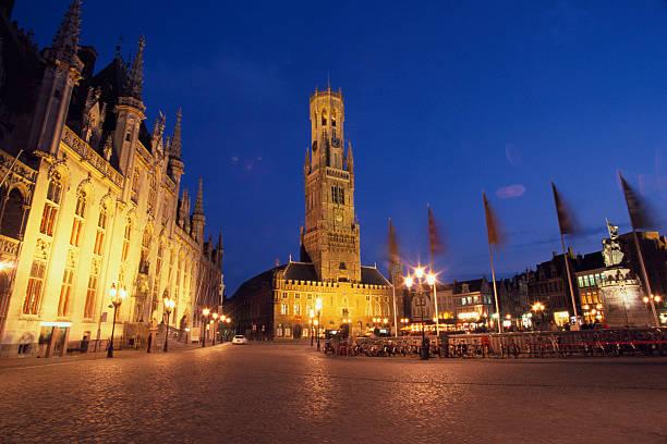 Buildings Illuminated at Twilight in Belgium