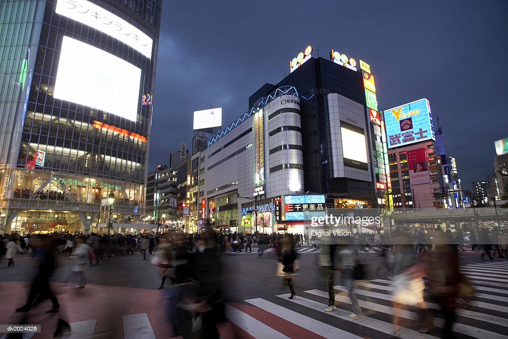 Buildings in a Busy City Street, Japan : Stock Photo
