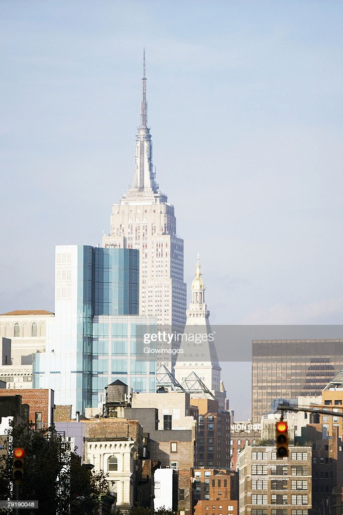 Buildings in a city, Empire State Building, Manhattan, New York City, New York State, USA : Stock Photo