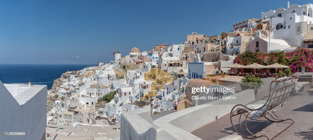 Buildings In City Against Clear Sky : Stock Photo