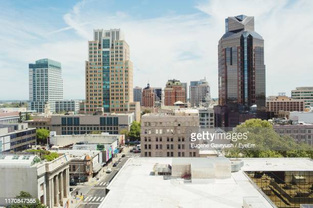 buildings in city against sky - sacramento stock pictures, royalty-free photos & images