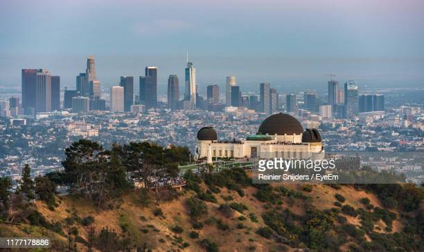 buildings in city - griffith park stock pictures, royalty-free photos & images