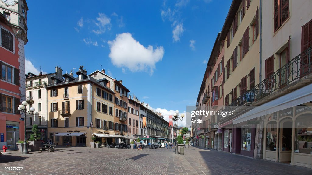 Buildings in downtown Chambery (Savoy, eastern France): the Old Town, 'place Saint-Leger' square.