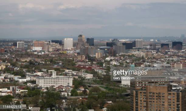 Buildings in downtown Newark are seen from an airplane on approach to Newark Liberty Airport on April 21 in Newark New Jersey