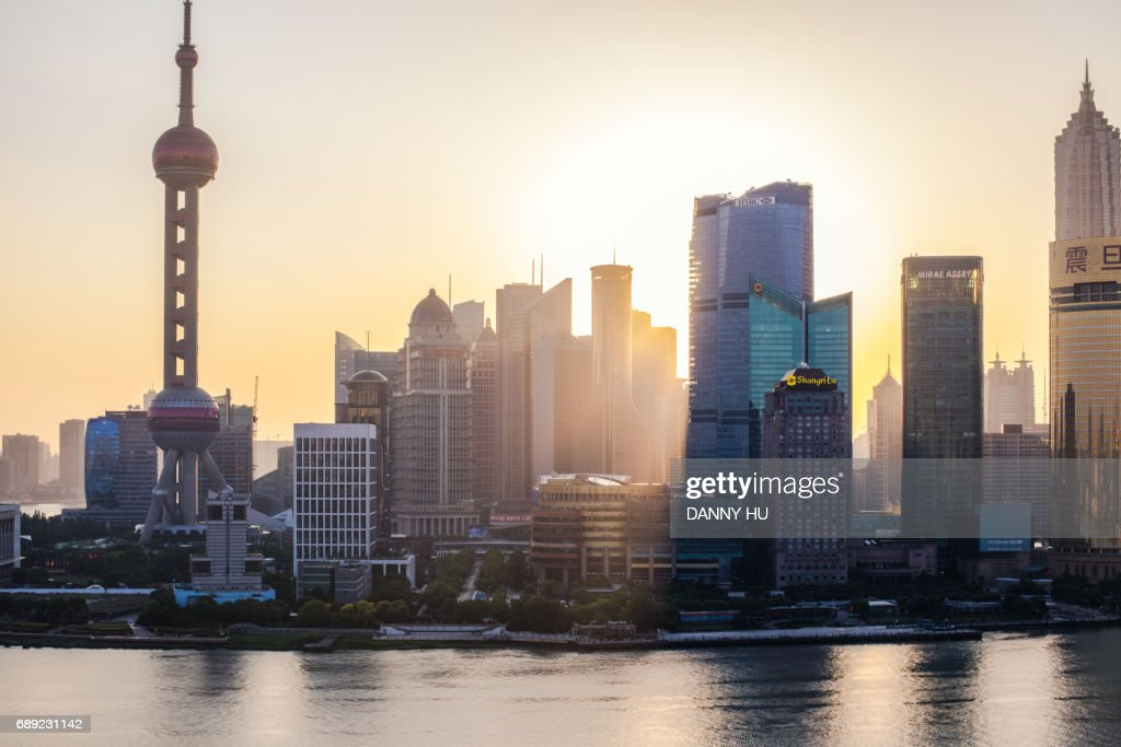 buildings in Lujiazui at sunrise : Stock Photo