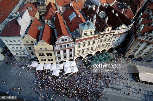 Buildings in Old Town Square seen from the tower of the Old Town Hall Prague Czech Republic