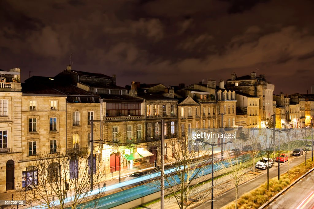 Buildings in the district of Chartons in the evening, in Bordeaux (south-western France).