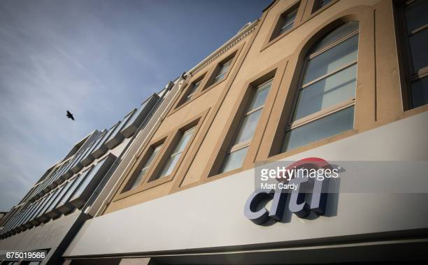 Buildings in the financial area of St Helier including the offices of US bank Citibank are seen on April 11 2017 in St Helier Jersey Jersey which is...