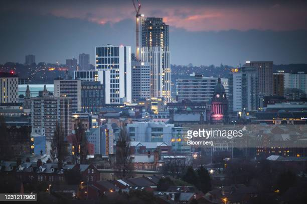 Buildings in the skyline of the city center of Leeds, U.K., on Wednesday, Feb. 17, 2021. U.K. Inflation accelerated in January, boosted by the cost...