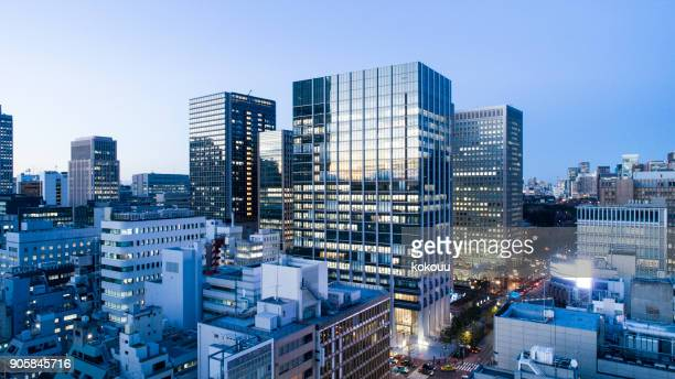 buildings in tokyo. - real estate office stock photos and pictures
