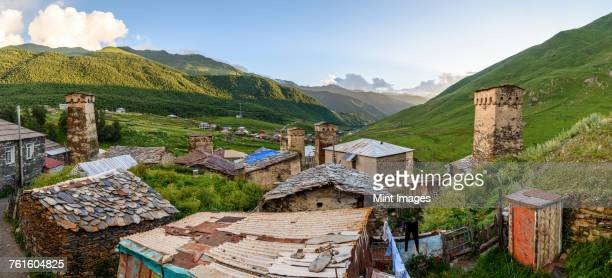 Buildings in Ushguli, a community of four villages located at the head of the Enguri gorge in Svaneti, Georgia. Mountain scenery.