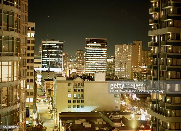 Buildings in Vancouver, Canada at Night