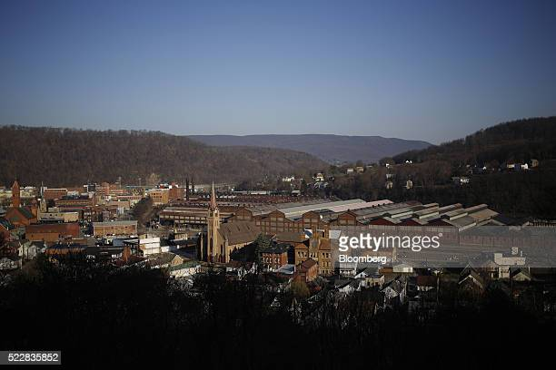 Buildings including part of the former Bethlehem Steel Corp plant now occupied by Gautier Steel Ltd back center stand in downtown Johnstown...
